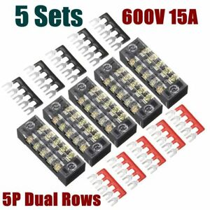 5 Ground Circuit Terminal Blocks Dual Row 5 Position Screw Terminal Strip +