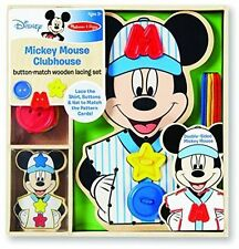 Melissa and Doug Disney Mickey Mouse Button-Match Wooden Lacing Set Game
