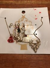H&M Christmas Holiday Necklace With 7 Charms Bell, Tree, Candy Cane NWT