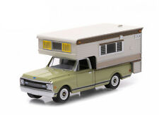 1/64 GREENLIGHT OLIVE GREEN CHEVY C10 PICKUP W/ CAMPER