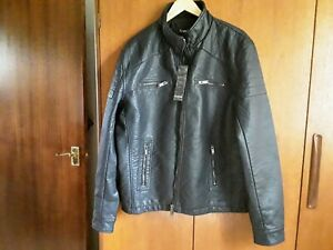 BNWT Mens Firetrap Black Leather Look Jacket Size XXL RRP £120
