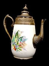 "Antique Vintage Chased Pewter & Hand Painted White Ceramic 11"" Coffee / Tea Pot"