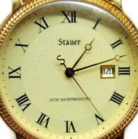 Stauer WR 3ATM Date Stainless Steel Back Leather Watch Analog Quartz New Battery