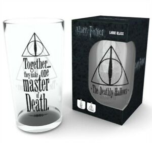 OFFICIAL HARRY POTTER DEATHLY HALLOWS LARGE DRINKING GLASS *NEW & BOXED*