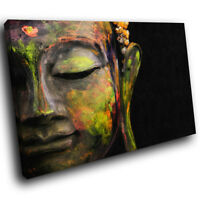 AB943 Black Green Buddha  Modern Abstract Canvas Wall Art Large Picture Prints