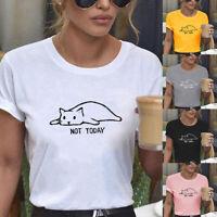 NEW Women Short Sleeve T-Shirt Cute Cat Print Casual O-Neck Tee Tops Blouse #@