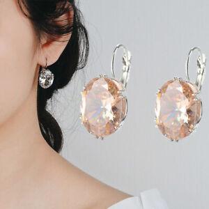 Fashion 925 Silver Oval Black Sapphire Stud Drop Dangle Earrings Wedding Jewelry