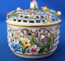 Antique Dresden Carl Thieme Porcelain Flower Encrusted Pot Pourri Bowl