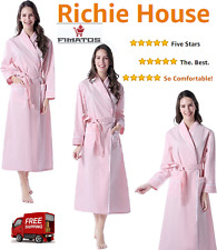 Women's Long Sleeve Cotton Bathrobe Robe,Pink,Large,ORIGINAL Richie House