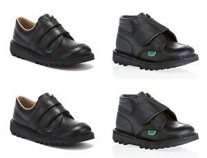 Kids Kickers Kick Lo Hi Black Boots New Infants Leather Shoes Strap Sale 7-12