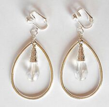 TEARDROP HOOPS WITH GLASS CRYSTAL DROP - CLIP ON EARRINGS (hook options)
