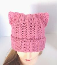 Ears stand up! Pussyhat Pussy Cat Hat Women's March Beanie Crochet Knit Pink