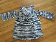 Michael Kors Cold Shoulder Striped Shirt  Cool Grey TunIc Size Large MSRP $130