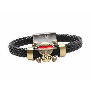 Hot Anime One Piece Skull Monkey D. Luffy Pirate Bracelet Wristband Cosplay Prop
