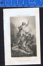 Resurrection of Christ -1851 Victorian Line Engraving by Johnson-Vanloo