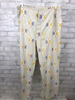 Vintage 1960's Men's  Balloon Seat Pleetway Pajama Pants Off White Argyle XL