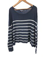 VINCE CASHMERE Striped Boxy Oversized Blue Navy Gray Top Sweater Small S (C1)