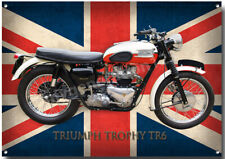 TRIUMPH TROPHY TR6 MOTORCYCLE METAL SIGN. CLASSIC BIKES A3