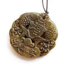 Chinese Old Jade Gem Happy Lucky Fishes Word Amulet Pendant Talisman