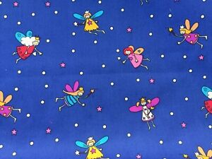 fabric cotton 100% FAIRIES ANGELS Royal Blue Children child nursery magic