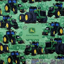 BonEful Fabric Cotton Quilt VTG Green Black John Deere Tractor Farm Scenic SCRAP