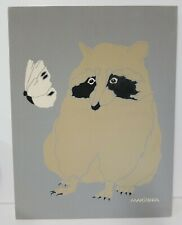 MARUSHKA Raccoon Butterfly Screen Print Mid Century Mod Canvas Screenprint