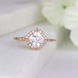 Princess Cut Tilt Square Sterling Silver Engagement Ring Promise Ring