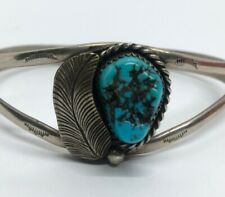 "Vintage Bracelet 6.5"" Cuff Turquoise Native American German Silver"