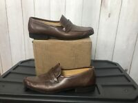 BALLY Huntley Men's Brown Loafers Size 9.5 EEE Leather Dress Shoes Slip On Italy