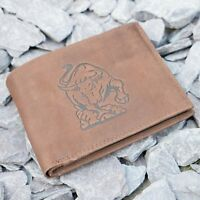 Mens Genuine Leather Wallet with Bull Logo embossed in Brown Hunter Suede