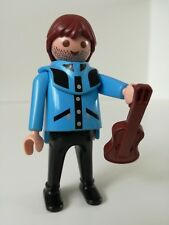 Playmobil Figure - Unshaved Blue Violin player with hoody (Loose)