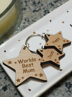 PERSONALISED MOTHERS DAY GIFTS FOR HER WOODEN KEYRING BEST MUM MUMMY NANNY GIFT