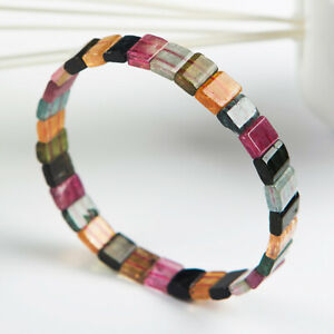 Top Natural Colorful Tourmaline Rainbow Crystal Woman Beads Bracelet 9mm AAAA