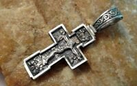 "VINTAGE STERLING SILVER ""925"" ORTHODOX ORNATE ICONIC CRUCIFIX ""SAVE and PROTECT"""
