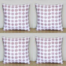 Red Flower 4 Pcs Sets Indian Hand Block 16x16 Cotton Pillow Case Cushion Covers
