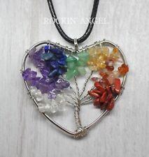 7 Chakra Healing Stones Heart Tree Of Life Pendant Necklace Reiki Gift crystal