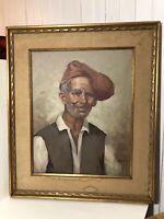 Vintage Oil Painting Wood Gold Gild Frame Old Man Portrait Awesome Frame Signed
