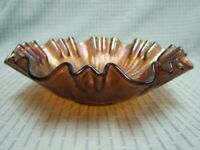 Fenton Amethyst Stippled Ray Ruffled Carnival Glass Bowl  VGC