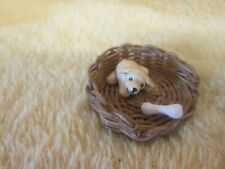 doll house miniature 1.12   small wicker basket with dog with bone