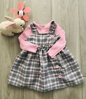 baby girl clothes 18 months Long Sleeve Solid Bodysuit & Plaid Strappy Dress