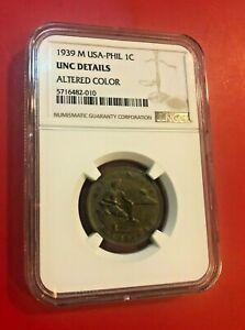 Philippines U.S. Administration Bronze 1939 M 1 Centavo NGC UNC DETAILS COLOR