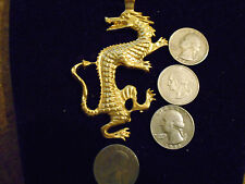 bling gold plated myth fantasy dragon pendant charm rope chain hip hop necklace