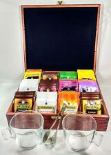 Luxury Dark Wood Tea Chest,12 Compartment with 110 Twinings tea bags & Mugs