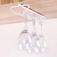 6-Hook Cup Holder Glass Paper Towel Hanger Cabinet Under Shelf Storage Rack CE6