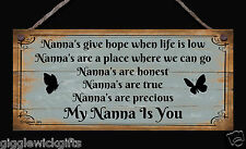 HANDMADE WOODEN SIGN PLAQUE NANNA'S GIVE HOPE WHEN LIFE IS LOW GIFT PRESENT