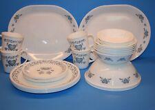 Corelle Blue Heart 31 Piece Dinnerware Set - Includes 2 Serving Bowls & Platters