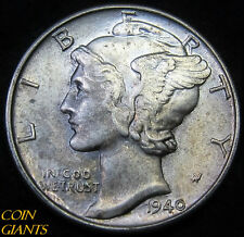 1940-P Winged Head Liberty Mercury Dime UNC BU 10c Philadelphia Toned Coin