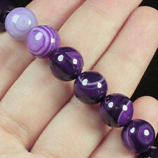 10mm Purple Agate Round Beads Heated Bracelet BLH59
