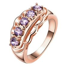 Women 18K Rose Gold GP Purple Swarovski Crystal Filigree Wedding Engagement Ring