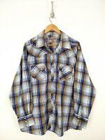 Wrangler Wrancher Pearl Snap Shirt Men 2XL XXL Gray Blue Long Sleeve Western